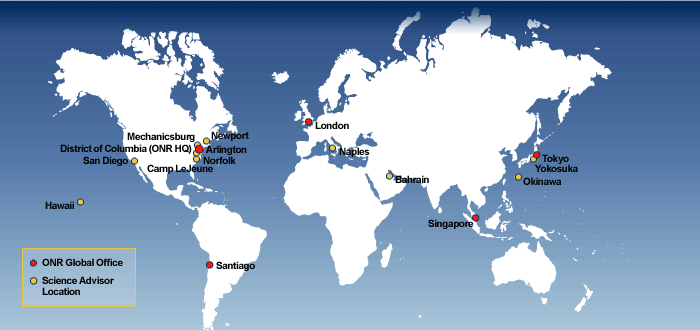 Map of ONR global offices and science advisor locations